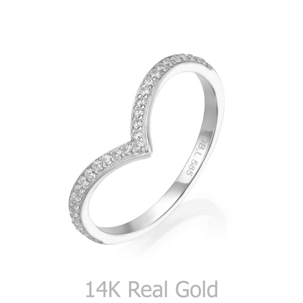 gold rings | 14K White Gold Rings - Leia