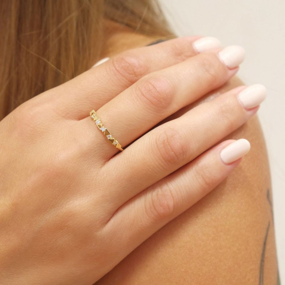 gold rings | 14K Yellow Gold Rings - May triangles