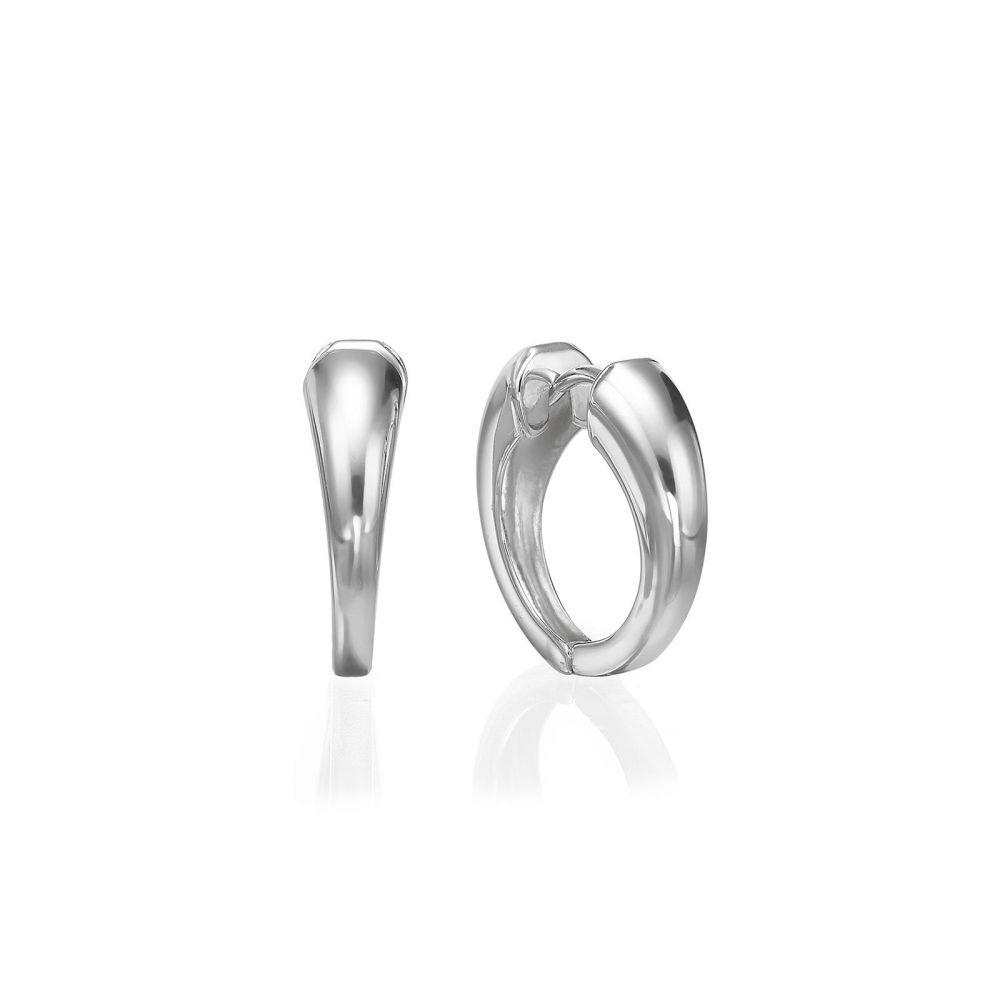 Gold Earrings | 14K White Gold Women's Earrings - Phoebe hoop