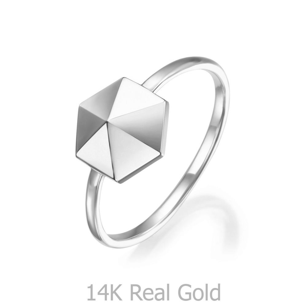 Women's Gold Jewelry | 14K White Gold Ring - Pyramid