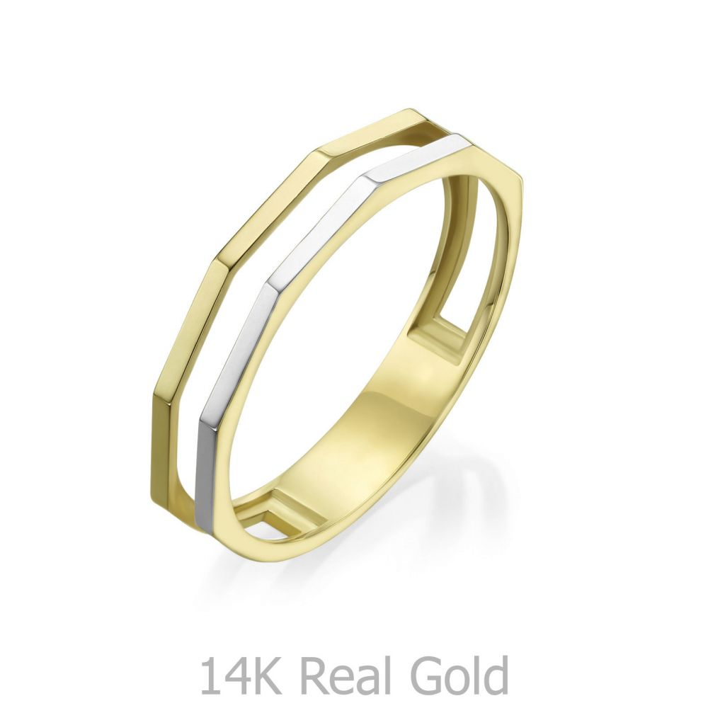 Women's Gold Jewelry | 14K White & Yellow Gold Ring - Milano