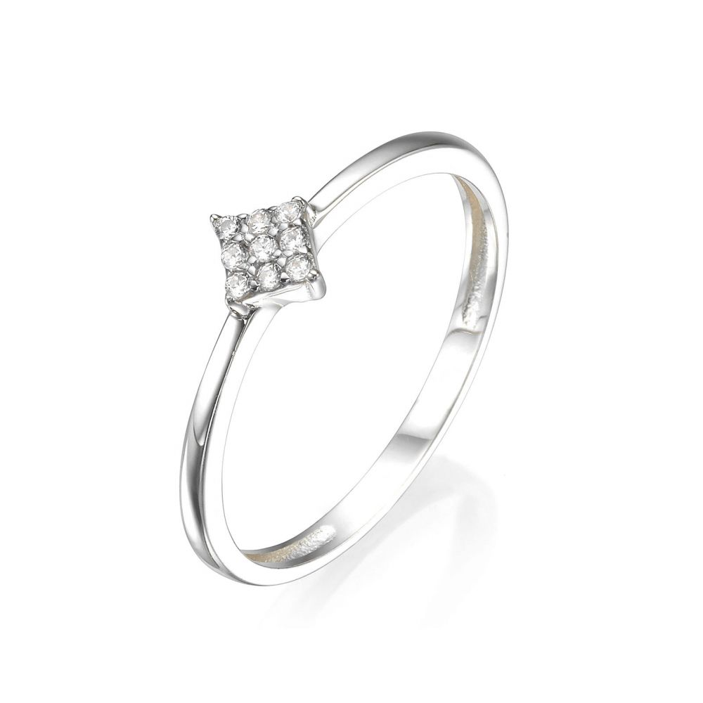 Women's Gold Jewelry | 14K Yellow Gold Ring - Shiny Rhombu
