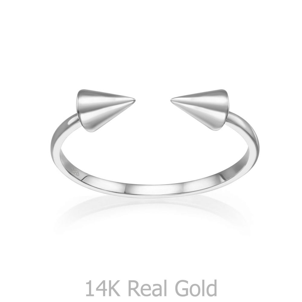 Women's Gold Jewelry | 14K White Gold Open Ring - Spinning Arrows