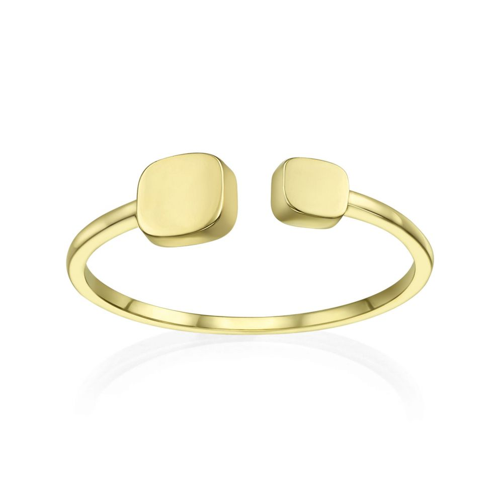 Women's Gold Jewelry | 14K Yellow Gold Open Ring - July cubes