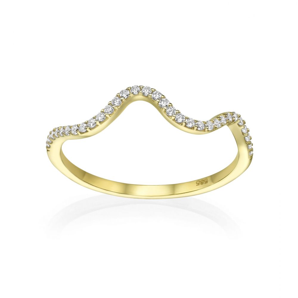 gold rings | 14K Yellow Gold Rings - Sparkling  Wave