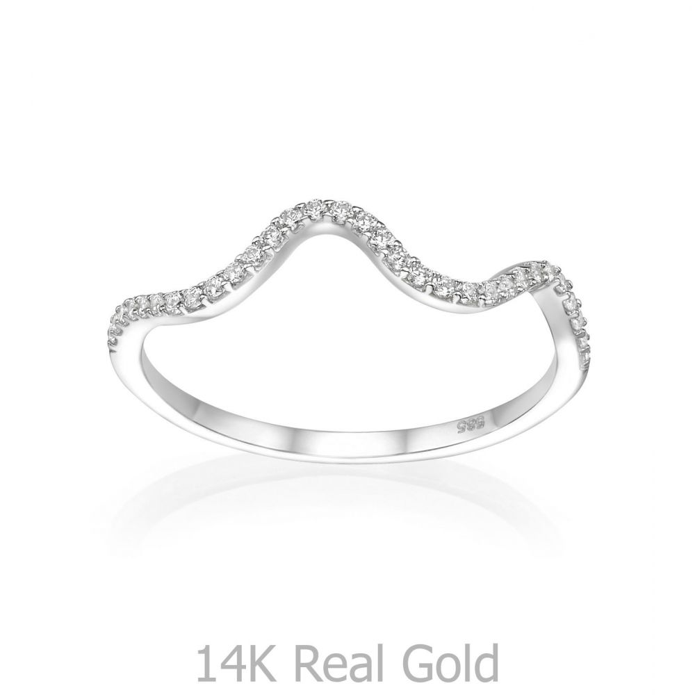 gold rings | 14K White Gold Rings - Sparkling  Wave