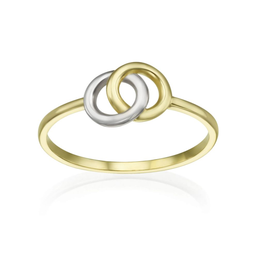 Women's Gold Jewelry | 14K White & Yellow Gold Ring - Integrated Circles