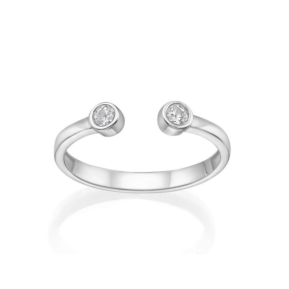 Women's Gold Jewelry | 14K White Gold Open Ring  - Shiny Dew balls
