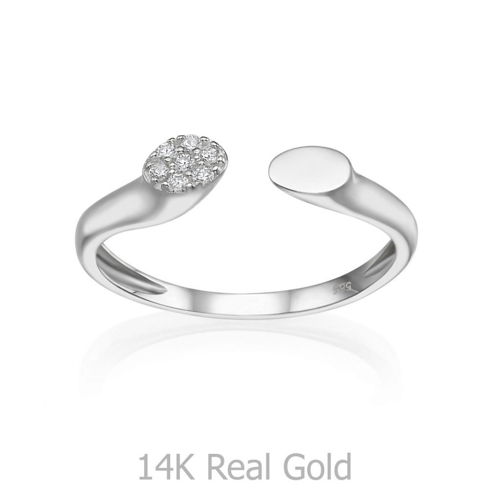 Women's Gold Jewelry | 14K White Gold Open Ring  - Celine