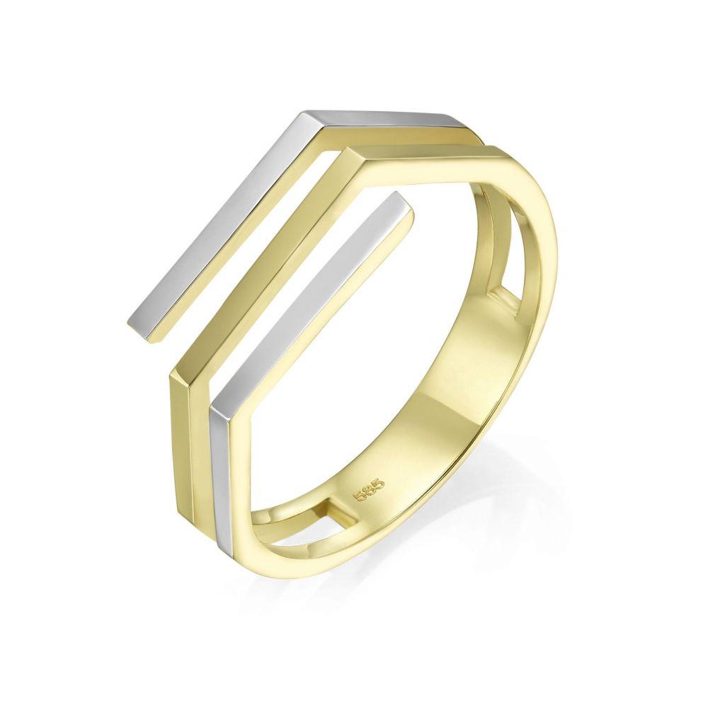 Women's Gold Jewelry | 14K White & Yellow Gold Ring - Aline