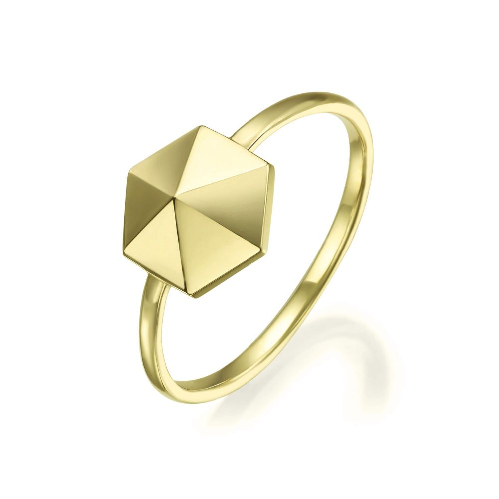 Women's Gold Jewelry | 14K Yellow Gold Ring - Pyramid