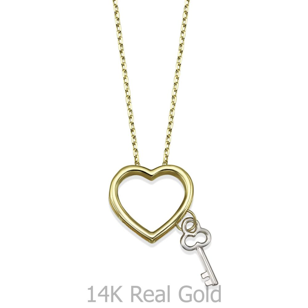 Women's Gold Jewelry | 14K Yellow Gold Women's Pendant - Heart key