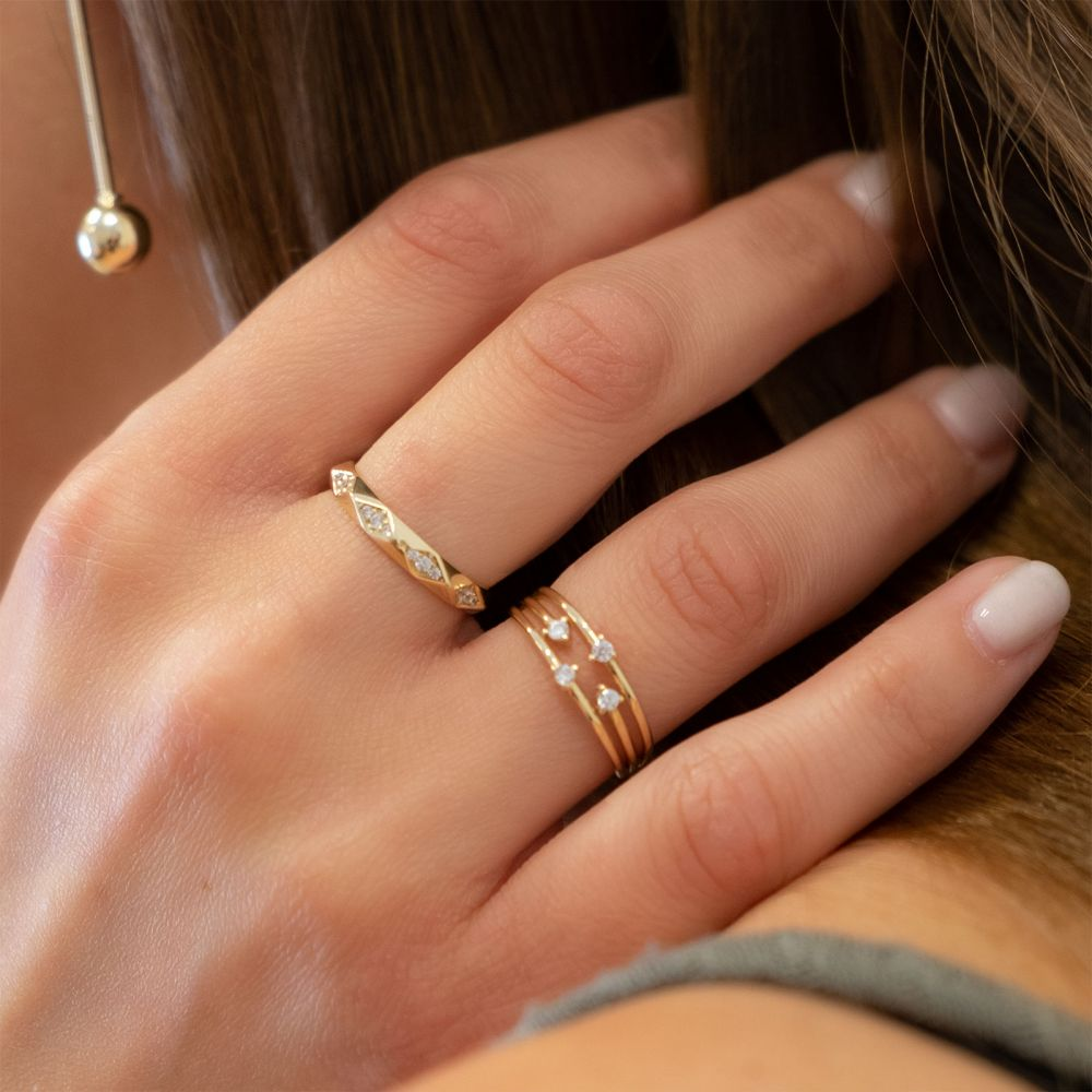 Women's Gold Jewelry | 14K Yellow Gold Rings - Pyramids