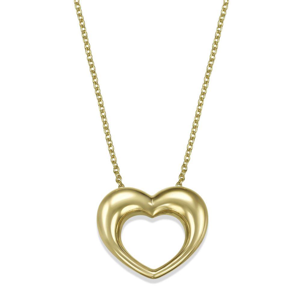 Women's Gold Jewelry | 14k Yellow gold women's pendant  - Heart of Fibi
