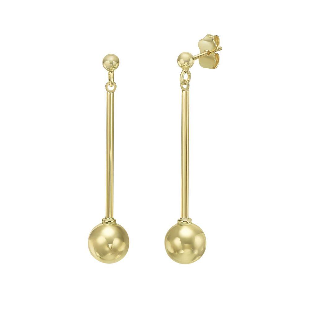 Gold Earrings   14K Yellow Gold Women's Earrings - Inbal ball