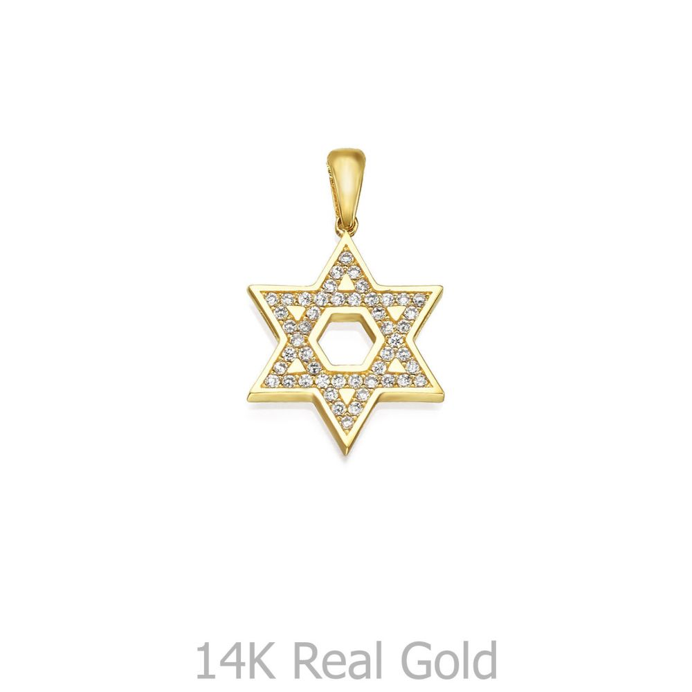 Women's Gold Jewelry | 14K Yellow Gold Women's Pendants - Sparkling Star of David