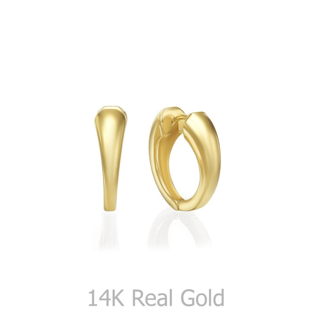 Gold Earrings   14K Yellow Gold Women's Earrings - Phoebe hoop