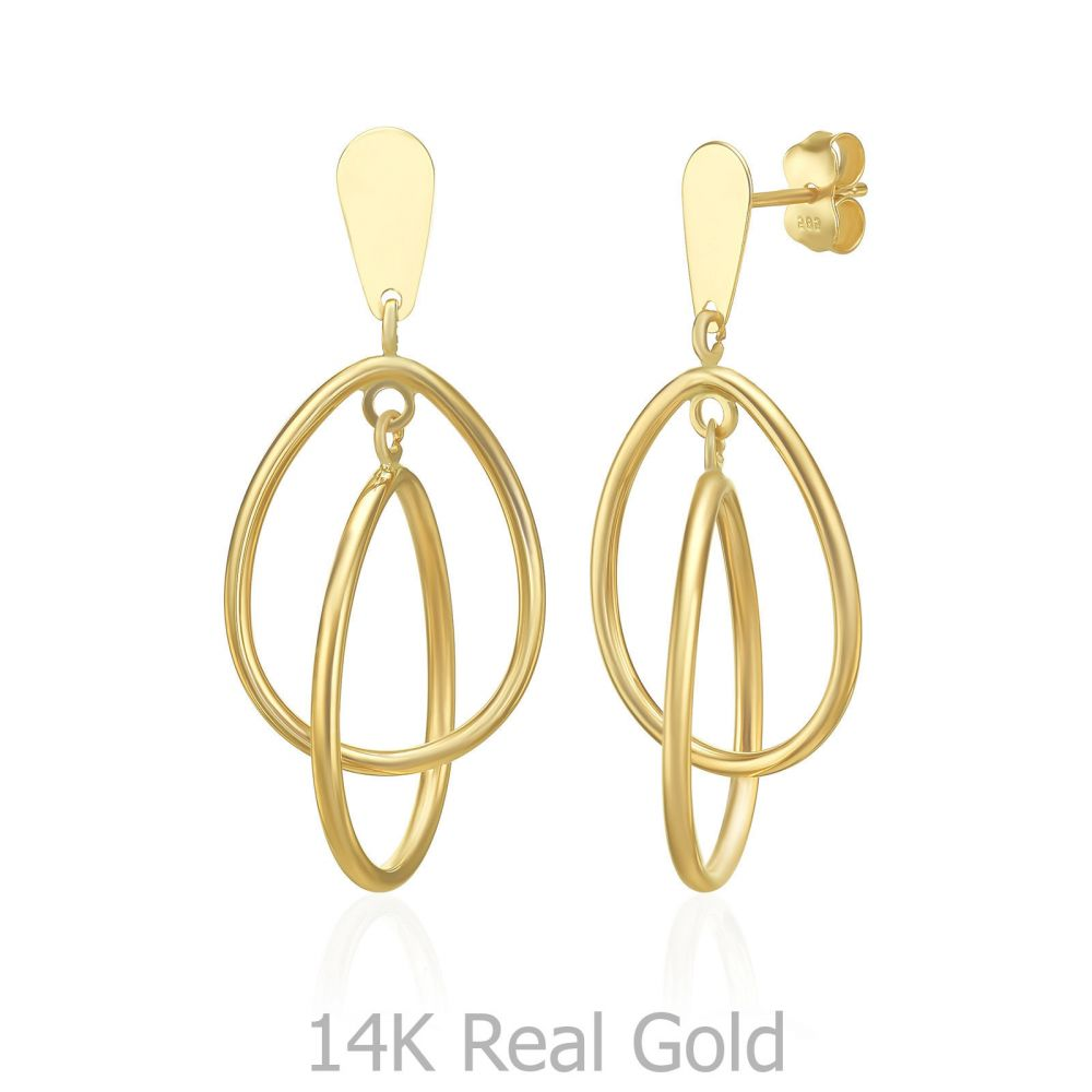 Gold Earrings | 14K Yellow Gold Women's Earrings - Troy