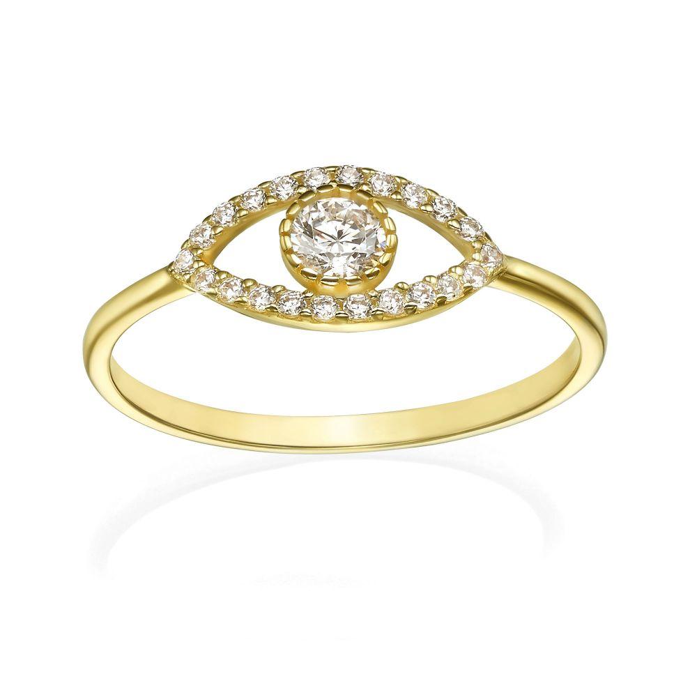 Women's Gold Jewelry | 14K Yellow Gold Ring - Sparkling  Eye