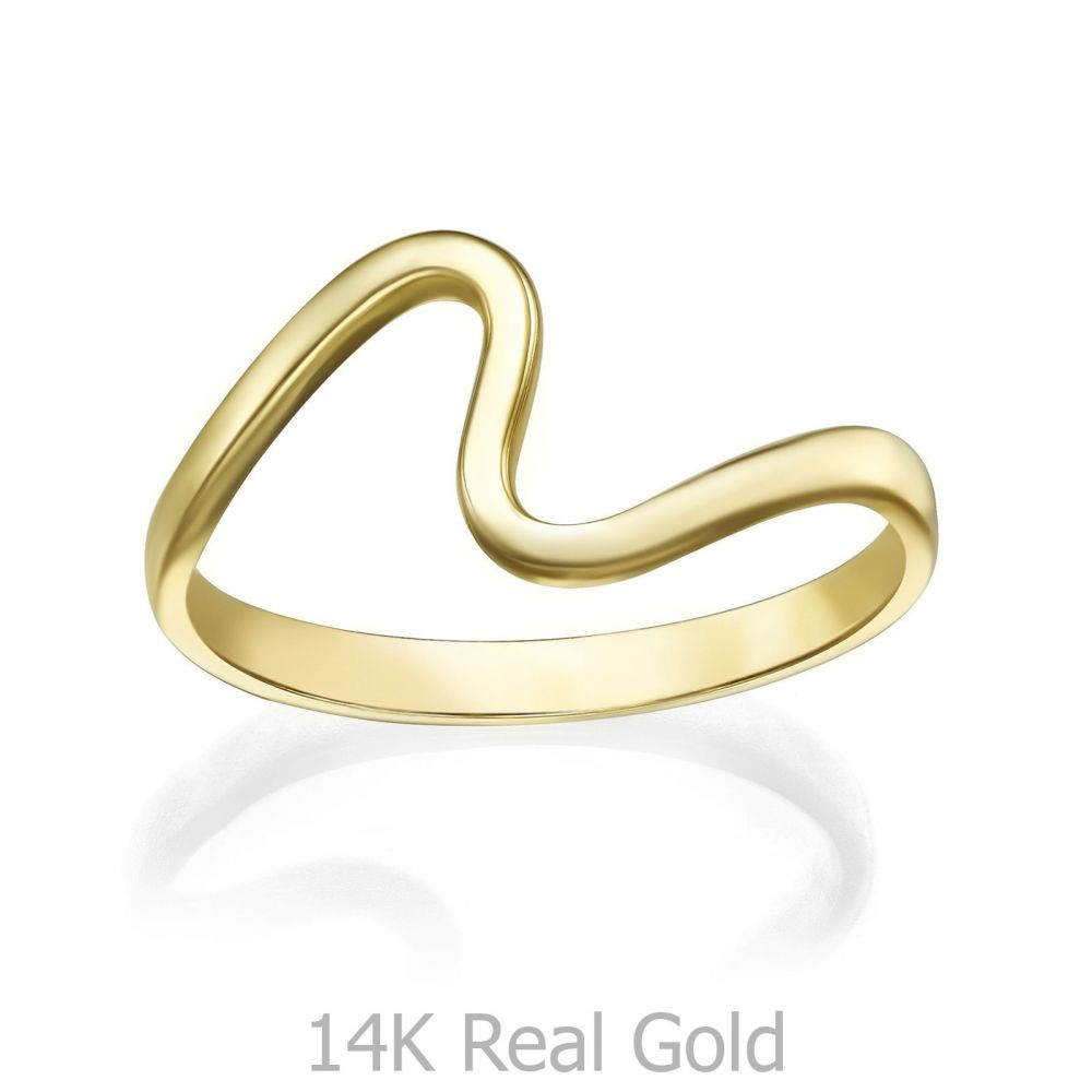 gold rings | 14K Yellow Gold Rings - Wave