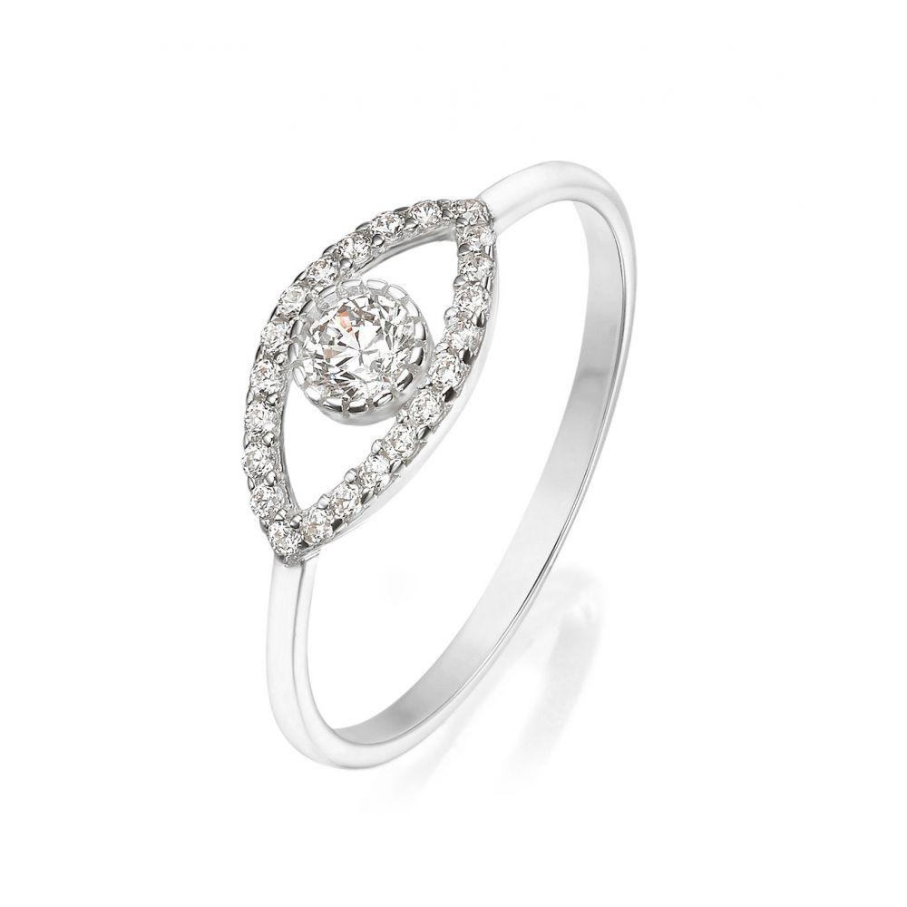 Women's Gold Jewelry | 14K White Gold Ring - Sparkling  Eye