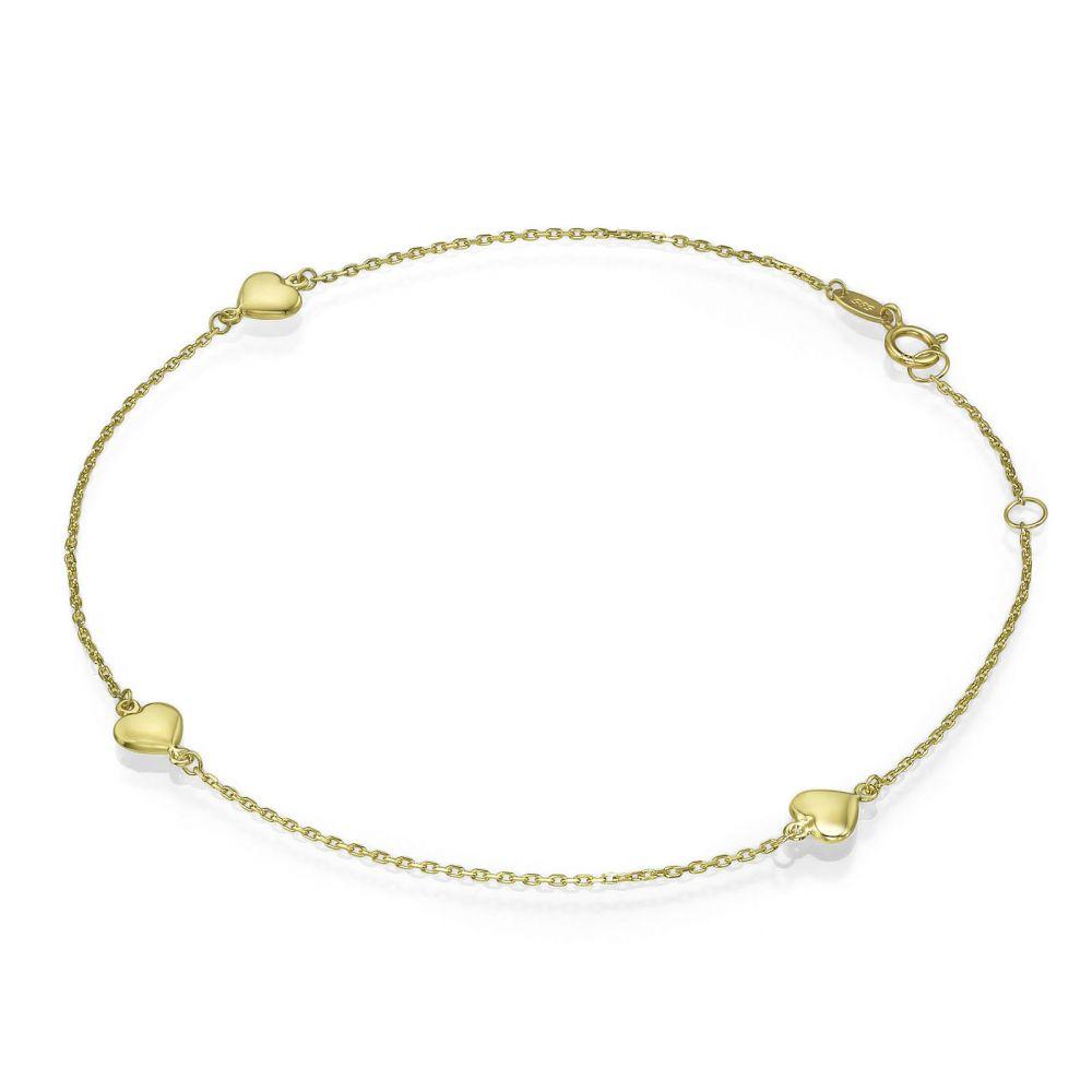Women's Gold Jewelry | 14K Yellow Gold Ankle Bracelet - Adriana Heart