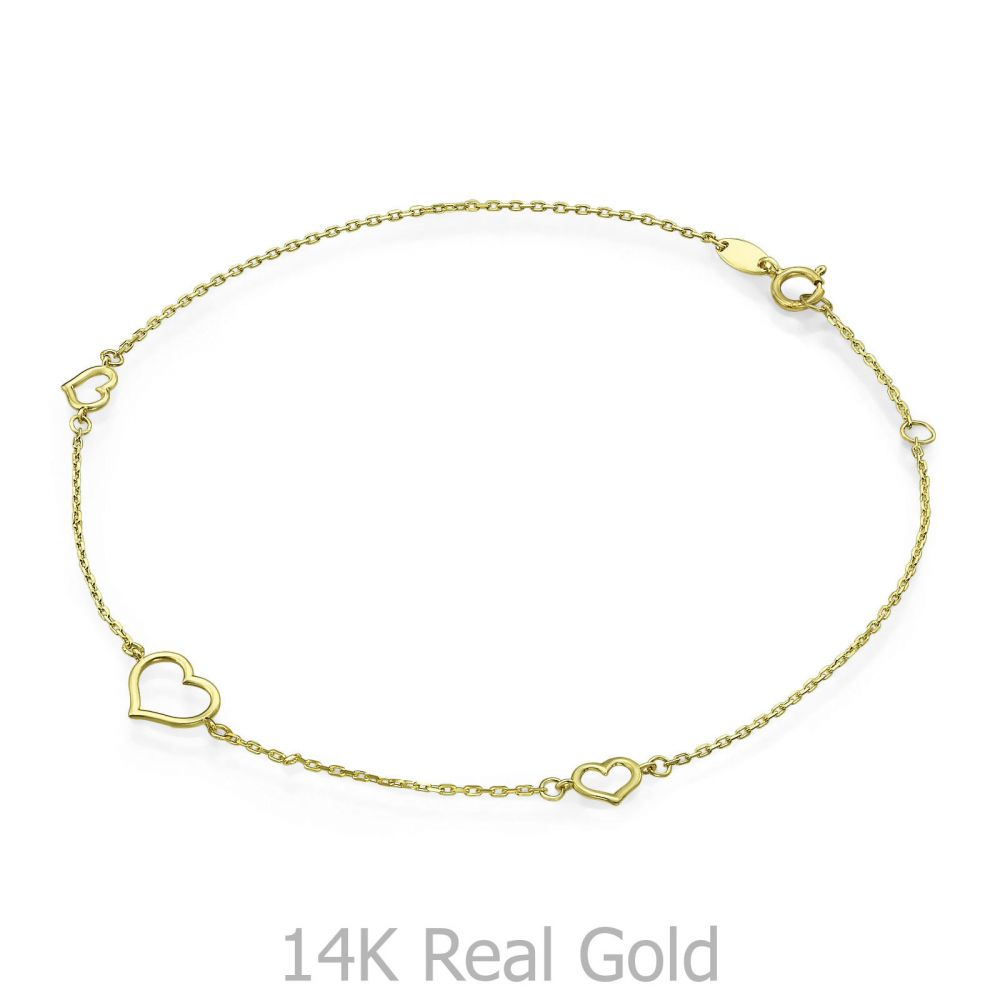 Women's Gold Jewelry   14K Yellow Gold Ankle Bracelet - Tapiti Heart
