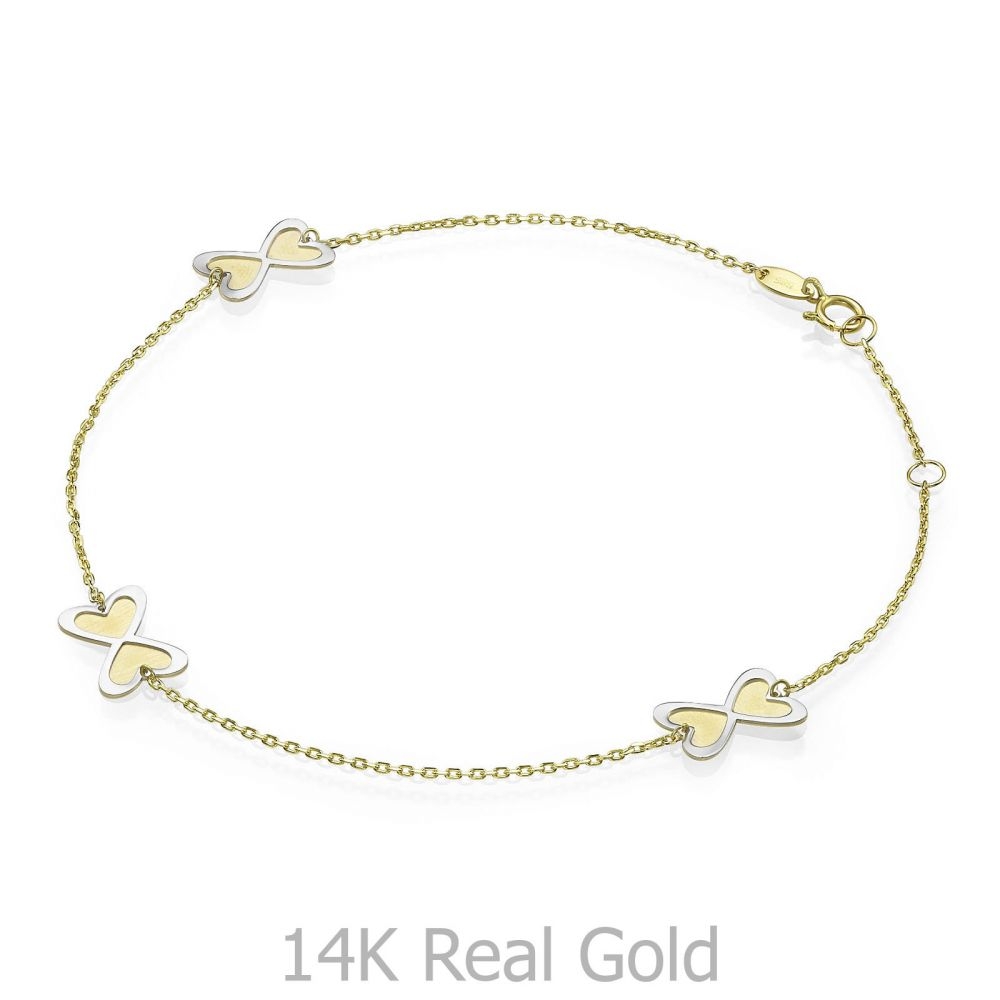 Women's Gold Jewelry | 14K Yellow and White Gold Ankle Bracelet - Infinite Hearts