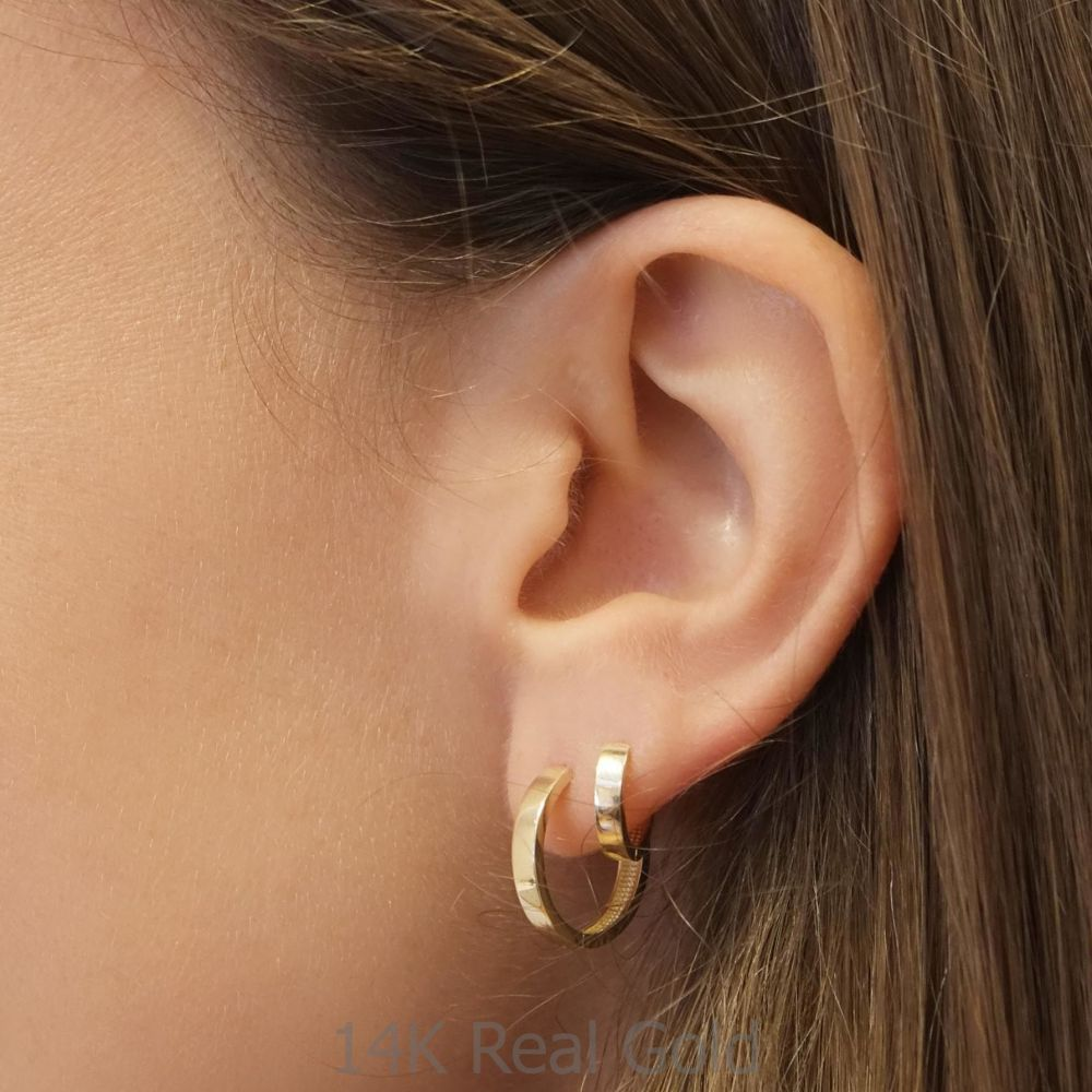 Gold Earrings | 14K Yellow Gold Women's Earrings - Carmen Hoop