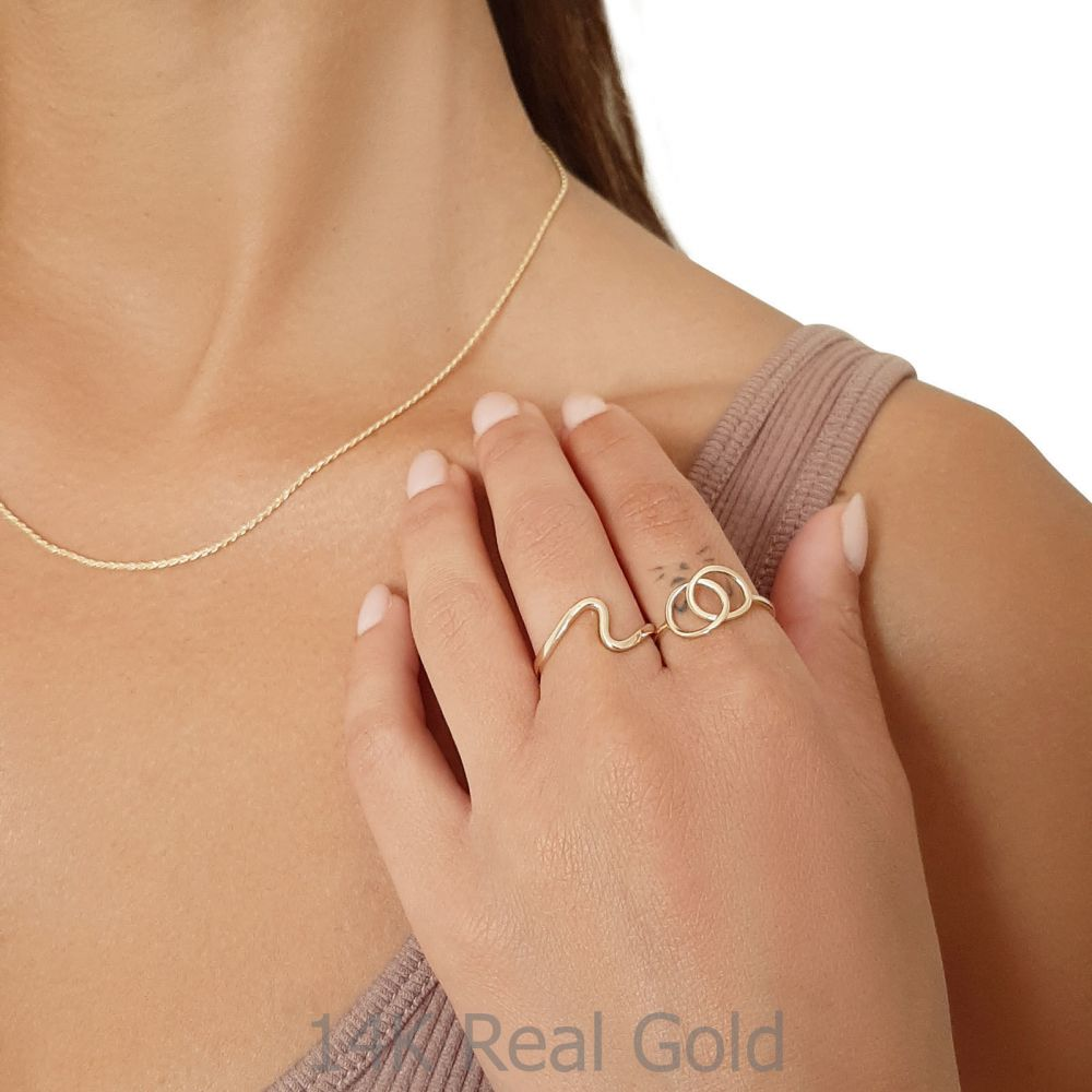Women's Gold Jewelry | 14K Yellow Gold Ring - Large Integrated Circles