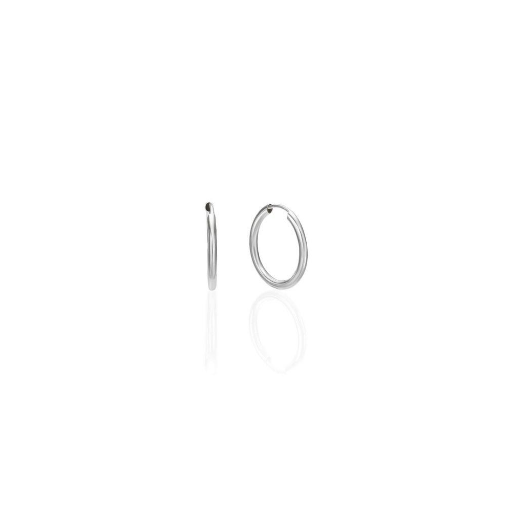 Gold Earrings | 14K White Gold Women's Hoop Earrings - Flexi S