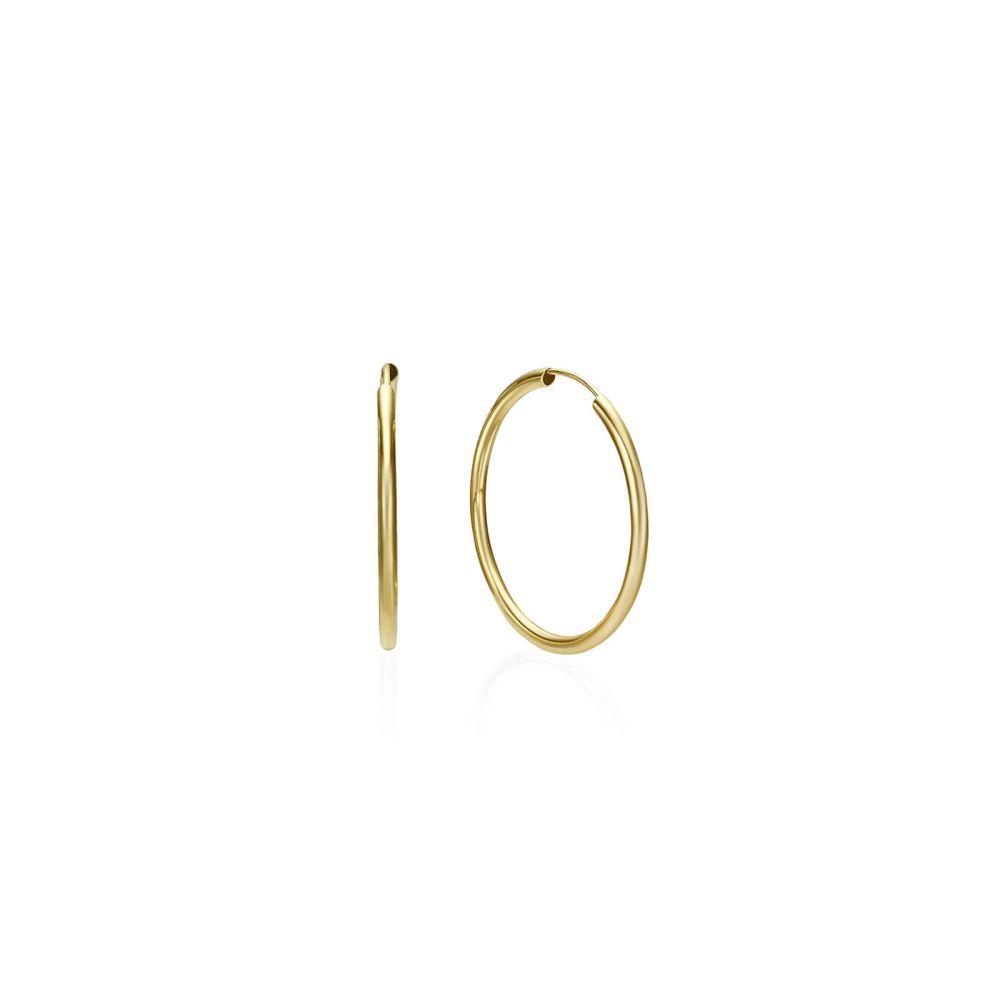 Gold Earrings | 14K Yellow Gold Women's Hoop Earrings - Flexi M