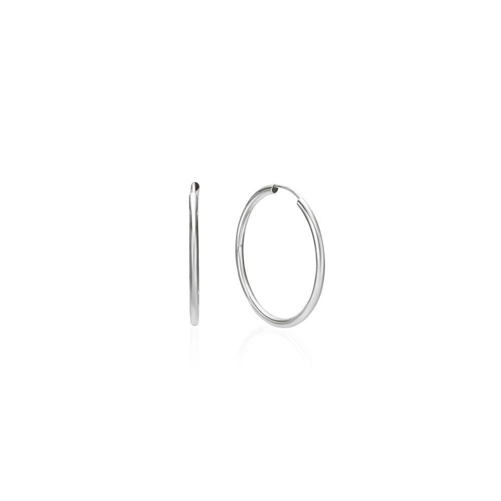 Gold Earrings   14K White Gold Women's Hoop Earrings - Flexi M