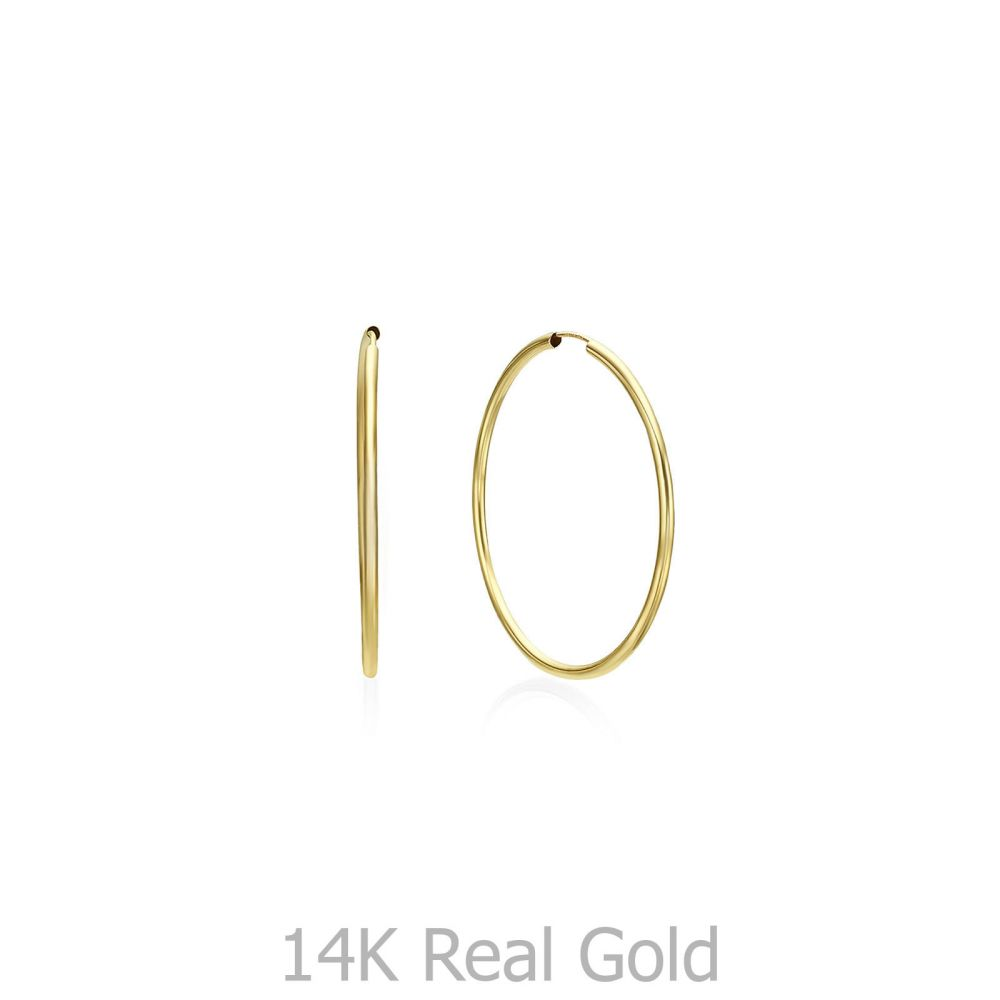 Gold Earrings | 14K Yellow Gold Women's Hoop Earrings - Flexi L