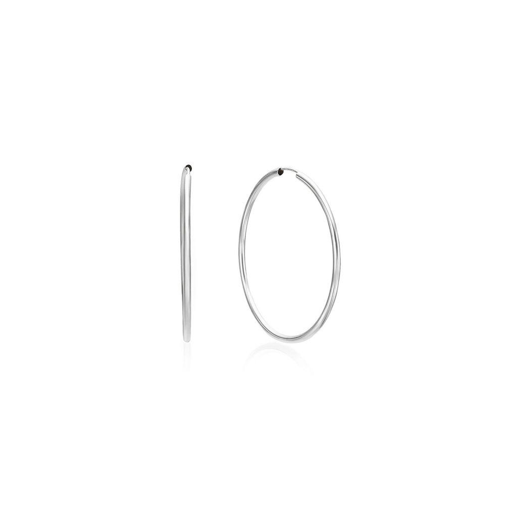 Gold Earrings | 14K White Gold Women's Hoop Earrings - Flexi L