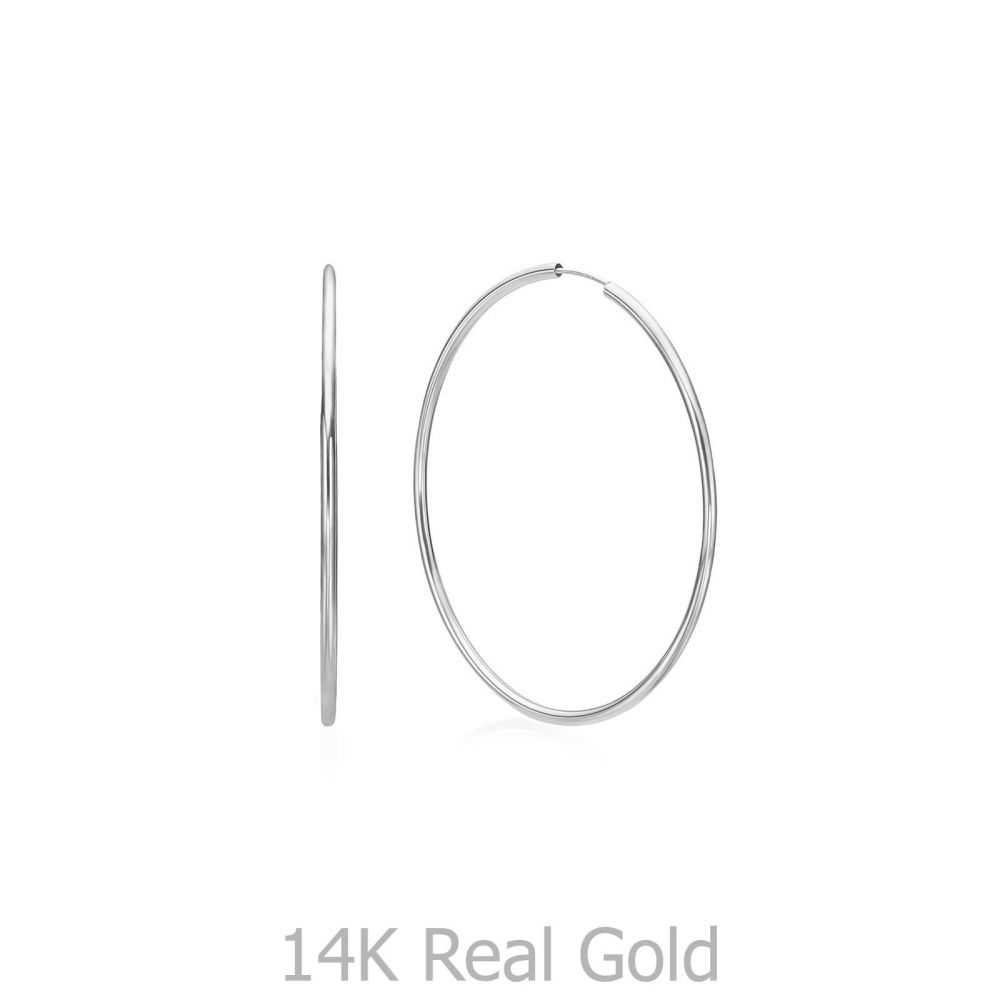 Gold Earrings | 14K White Gold Women's Hoop Earrings - Flexi XL