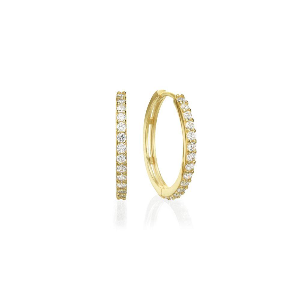 Gold Earrings | 14K Yellow Gold Women's Earrings - Glittering Athena Hoop