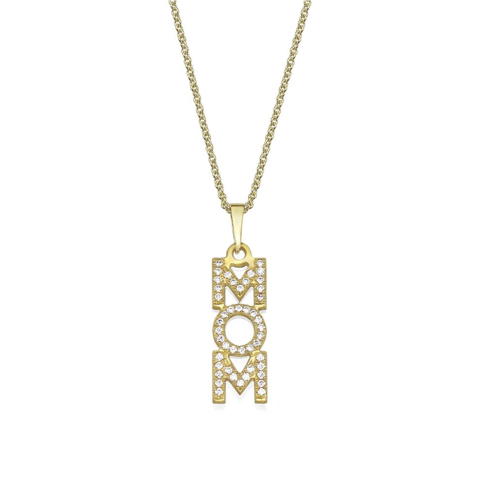 Gold Pendant | 14K Yellow Gold MOM Necklace - MOM Vertical Necklace