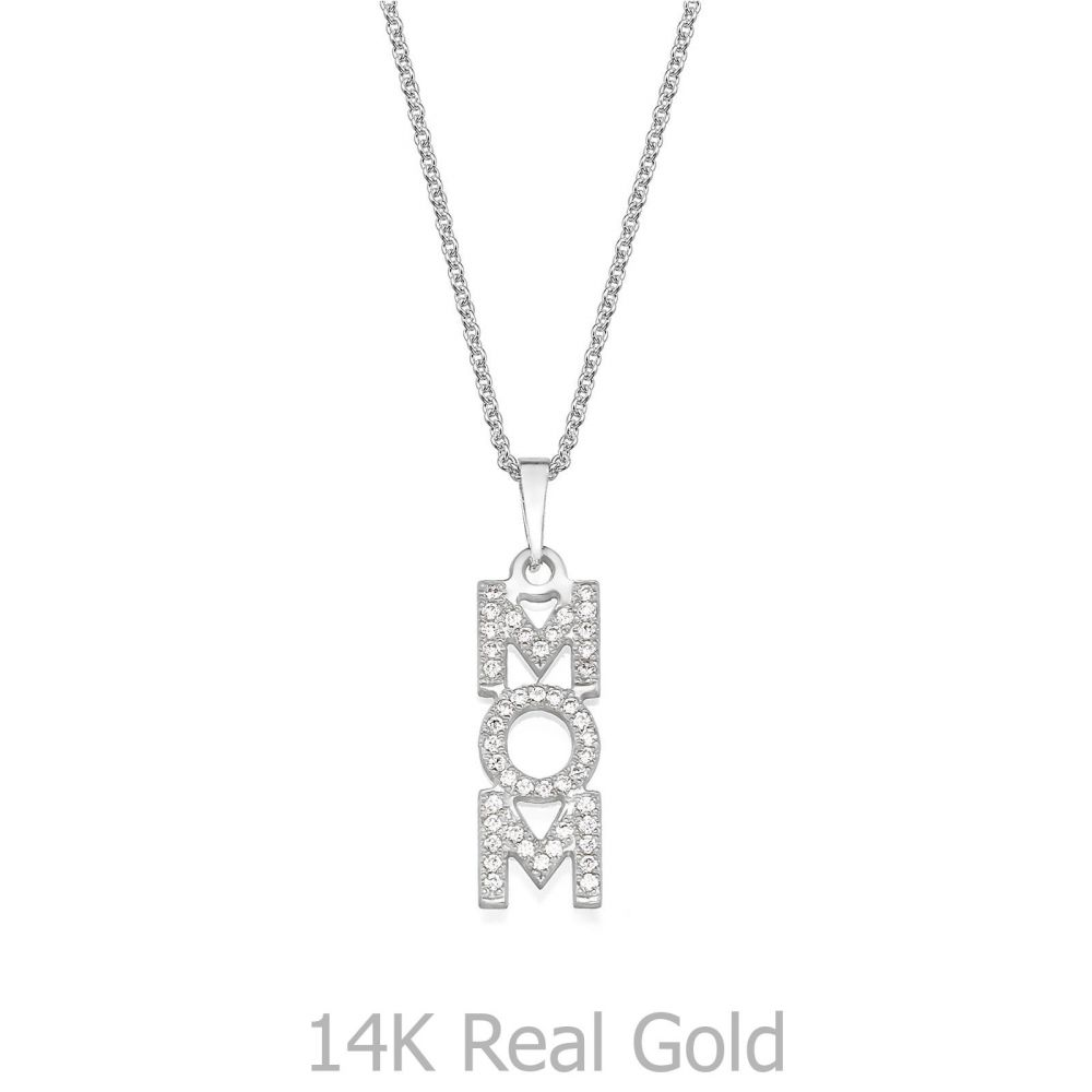 Gold Pendant | 14K White Gold MOM Necklace - MOM Vertical Necklace
