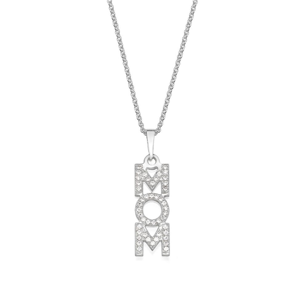Gold Pendant | 14K White Gold Diamond MOM Necklace - MOM Vertical Necklace