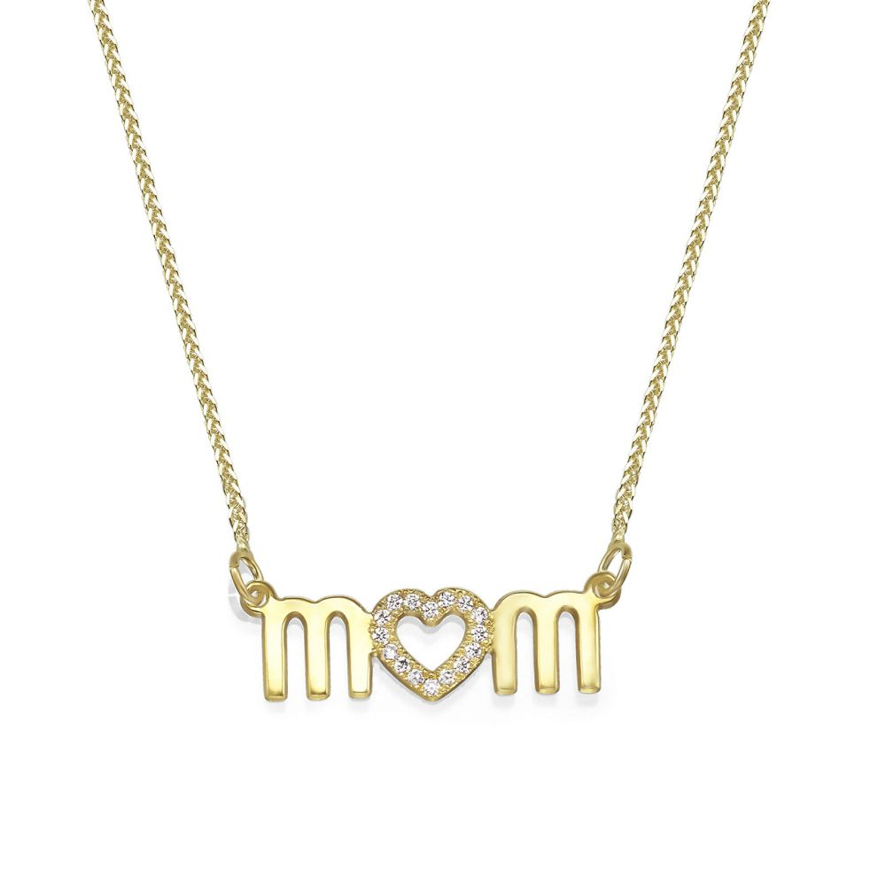 Gold Pendant | 14K Yellow Gold Diamond MOM Necklace - Mother's Heart Necklace