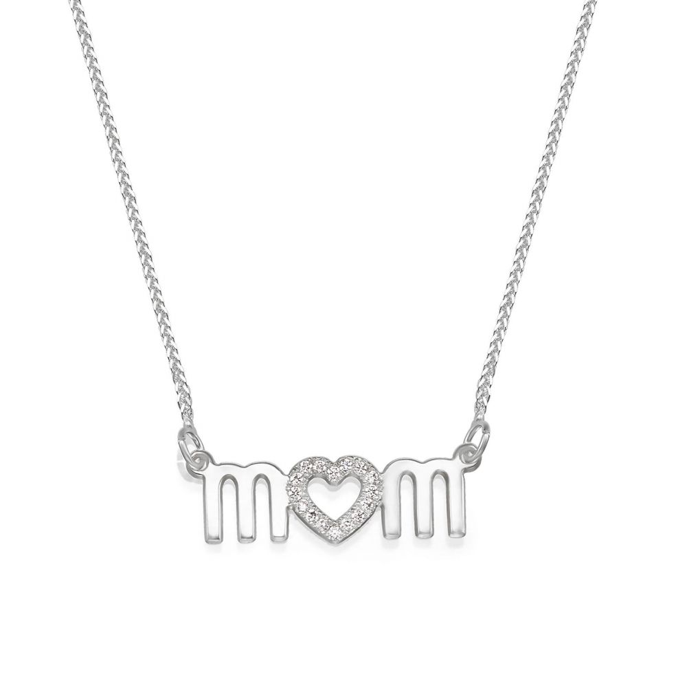 Gold Pendant | 14K White Gold MOM Necklace - Mother's Heart Necklace