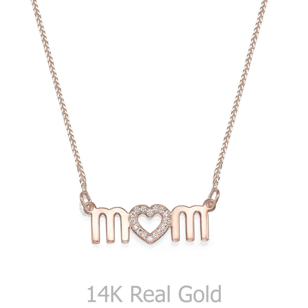 Gold Pendant | 14K Rose Gold MOM Necklace - Mother's Heart Necklace