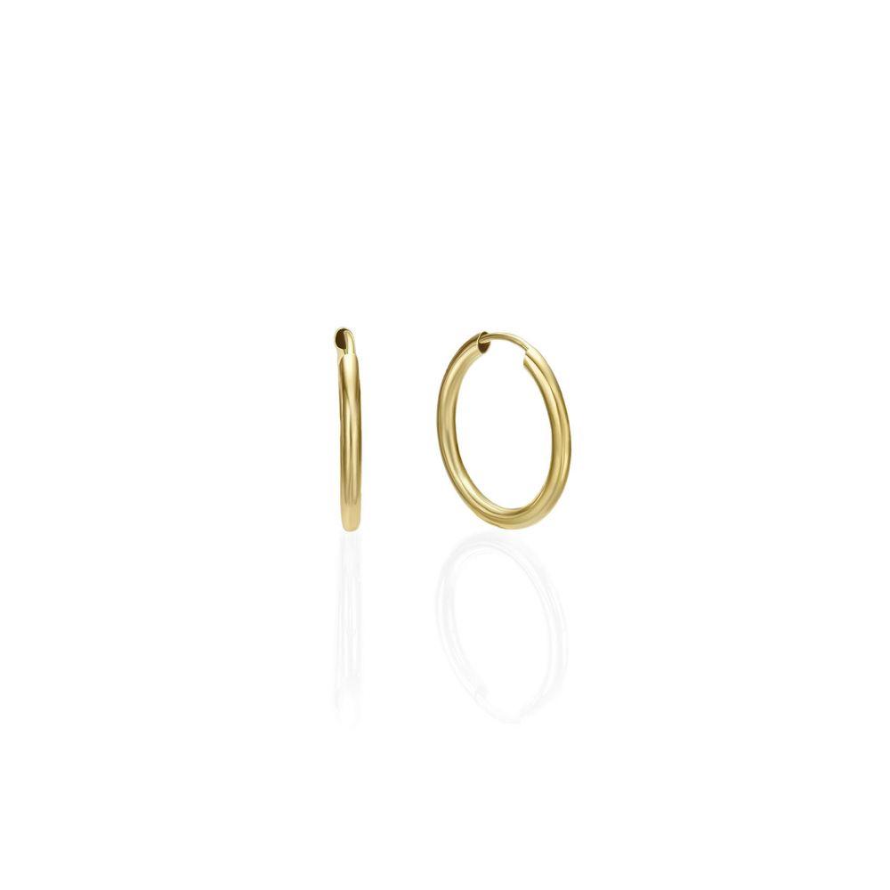 Gold Earrings | 14K Yellow Gold Women's Hoop Earrings - Flexi  S