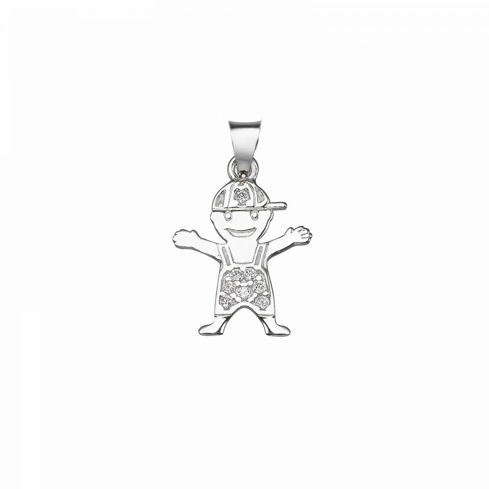 Women's Gold Jewelry | 14k White  gold women's pendant - Sweet Boy