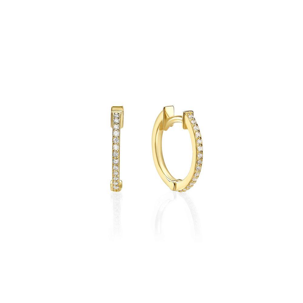 Diamond Jewelry | 14K Yellow Gold Diamond Women's Hoop Earrings - S