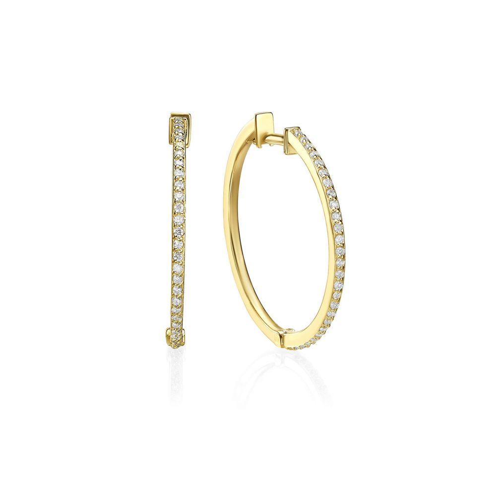 Diamond Jewelry | 14K Yellow Gold Diamond Women's Hoop Earrings - L