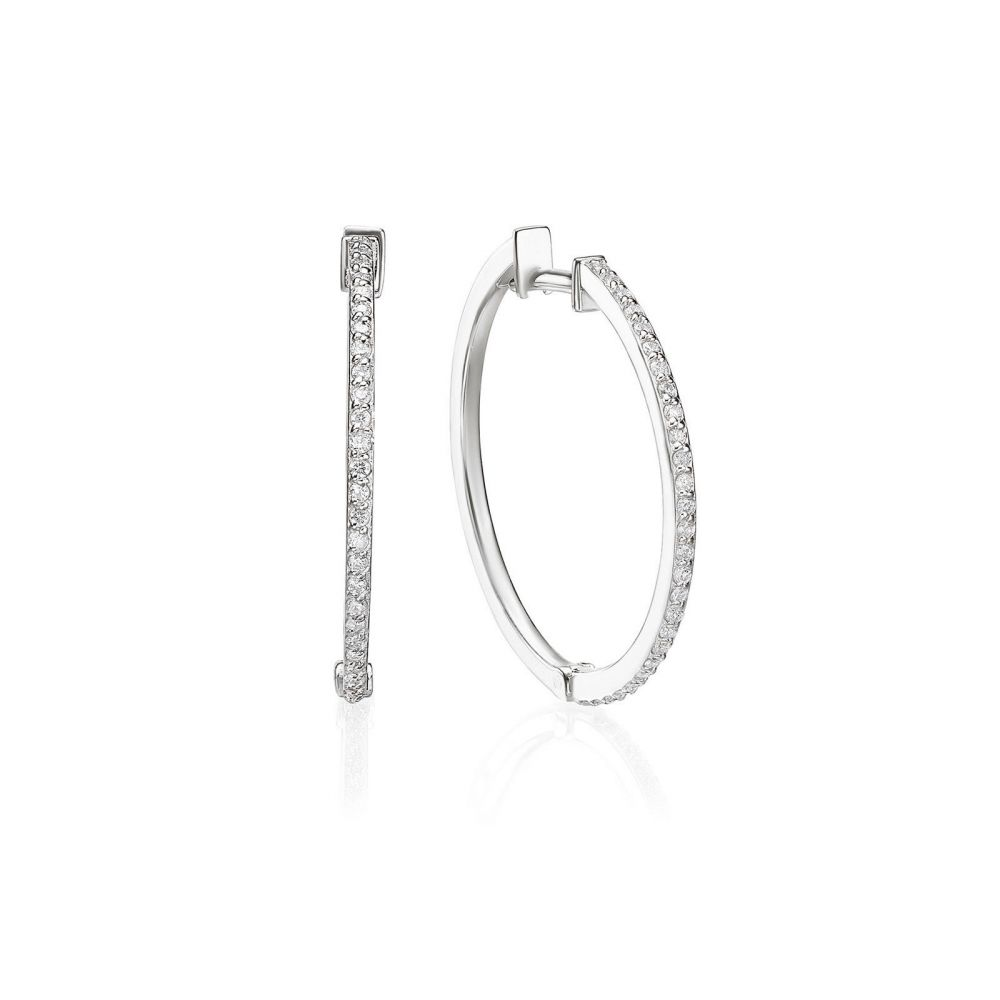 Diamond Jewelry | 14K White Gold Diamond Women's Hoop Earrings - L