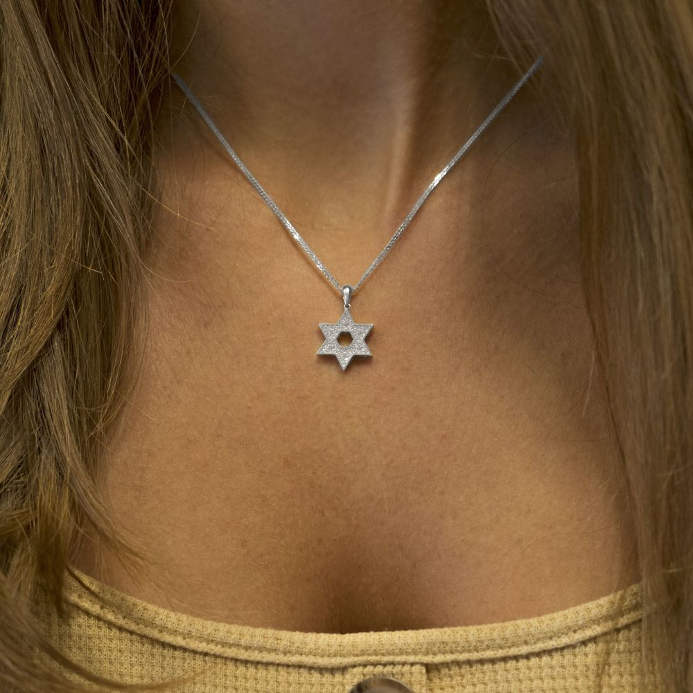 Women's Gold Jewelry | 14K White Gold Women's Pendants - Sparkling Star of David