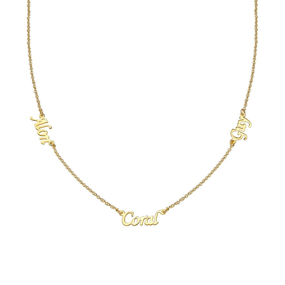 Personalized Necklaces | 14k Yellow gold women's pandant - Three Names Necklace